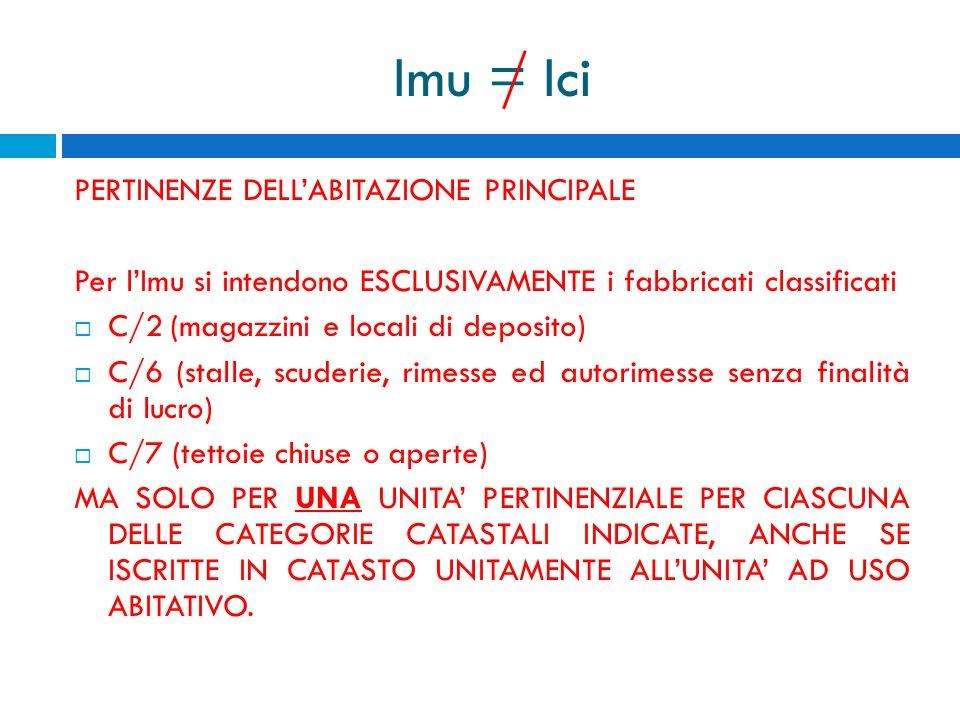 Imu = Ici PERTINENZE DELL'ABITAZIONE PRINCIPALE