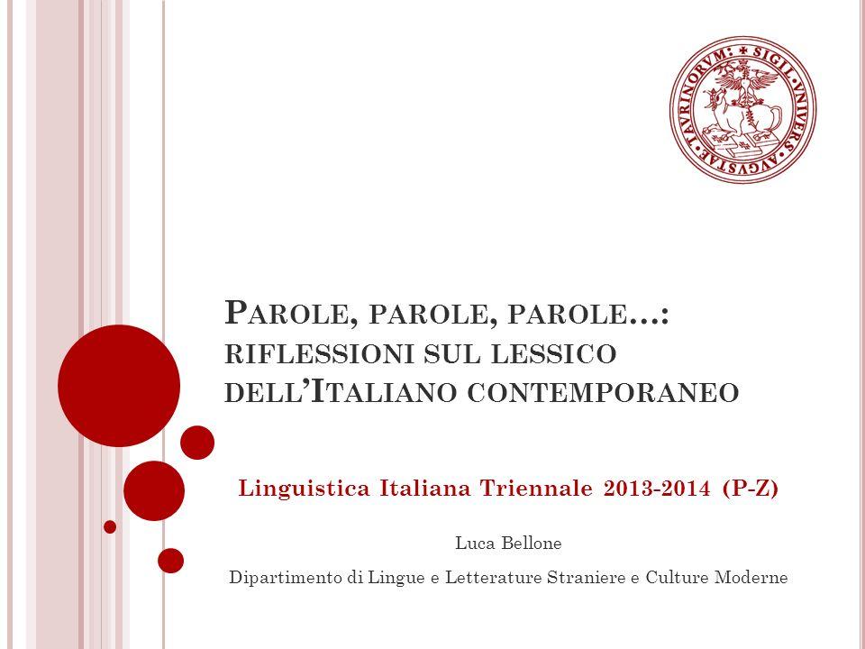 Linguistica Italiana Triennale 2013-2014 (P-Z)