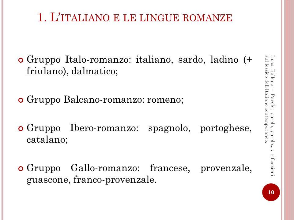 1. L'italiano e le lingue romanze