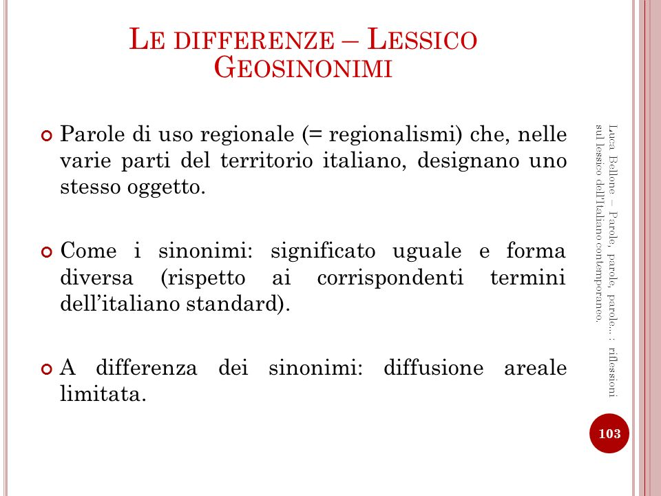 Le differenze – Lessico Geosinonimi