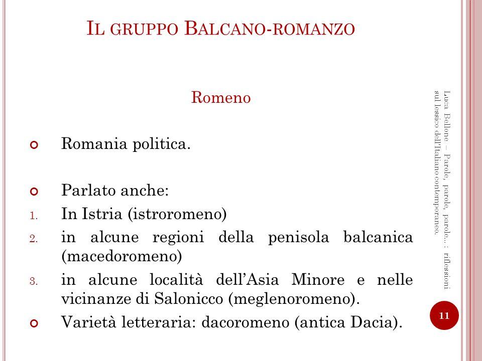 Il gruppo Balcano-romanzo