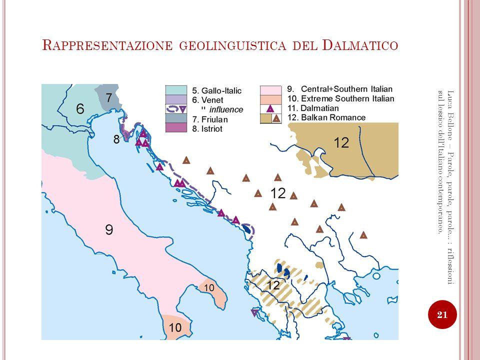 Rappresentazione geolinguistica del Dalmatico