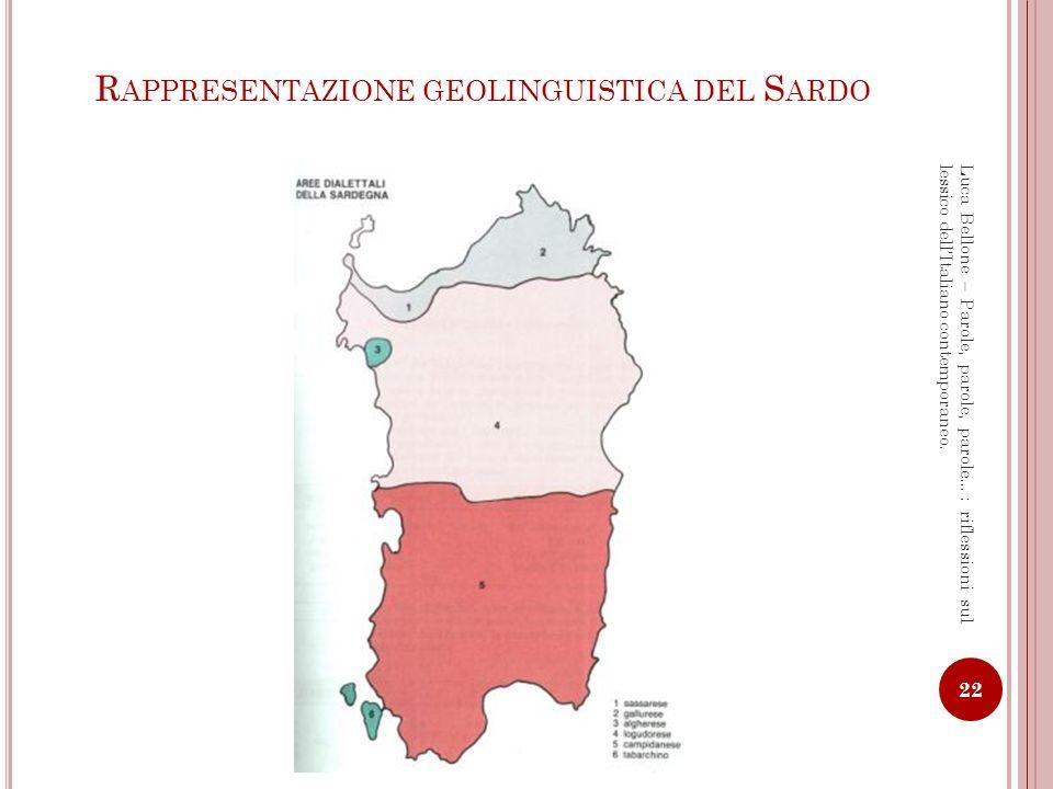 Rappresentazione geolinguistica del Sardo