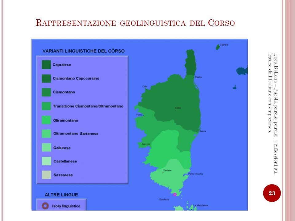 Rappresentazione geolinguistica del Corso