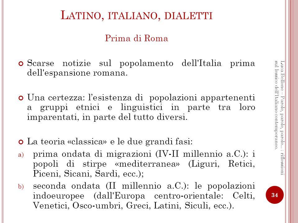 Latino, italiano, dialetti