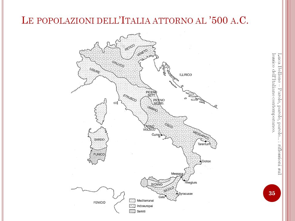 Le popolazioni dell'Italia attorno al '500 a.C.