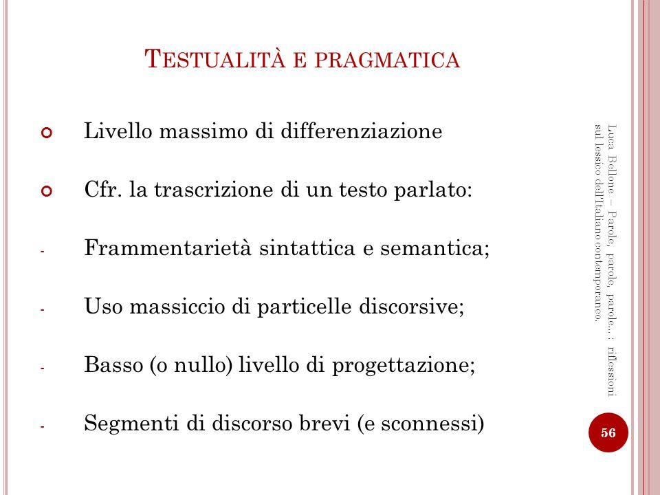 Testualità e pragmatica