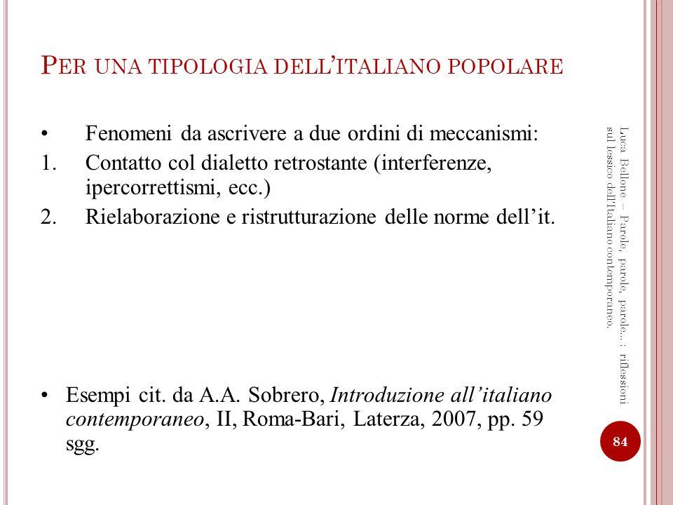 Per una tipologia dell'italiano popolare