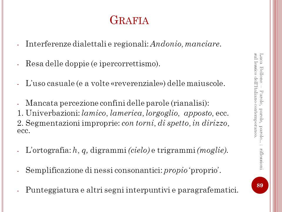 Grafia Interferenze dialettali e regionali: Andonio, manciare.