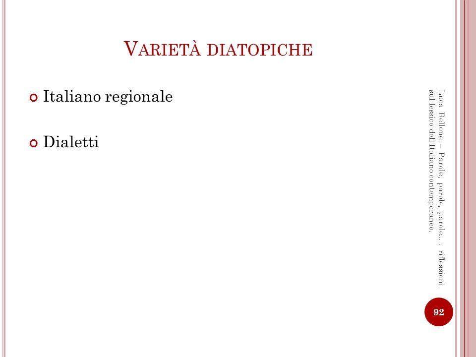 Varietà diatopiche Italiano regionale Dialetti