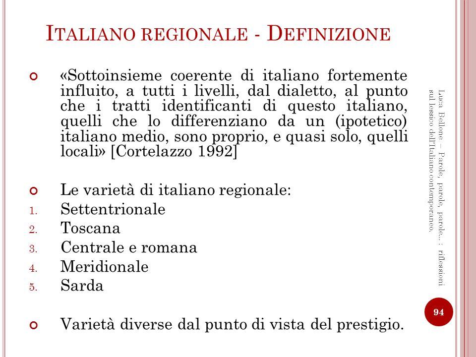 Italiano regionale - Definizione
