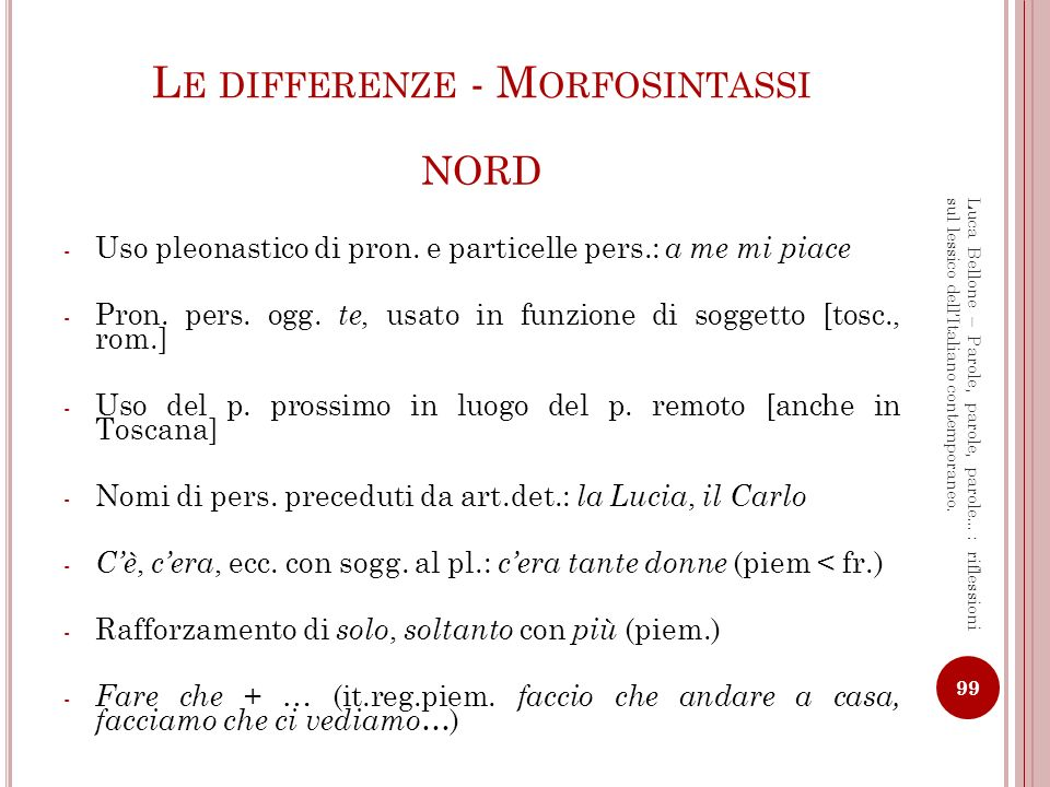 Le differenze - Morfosintassi