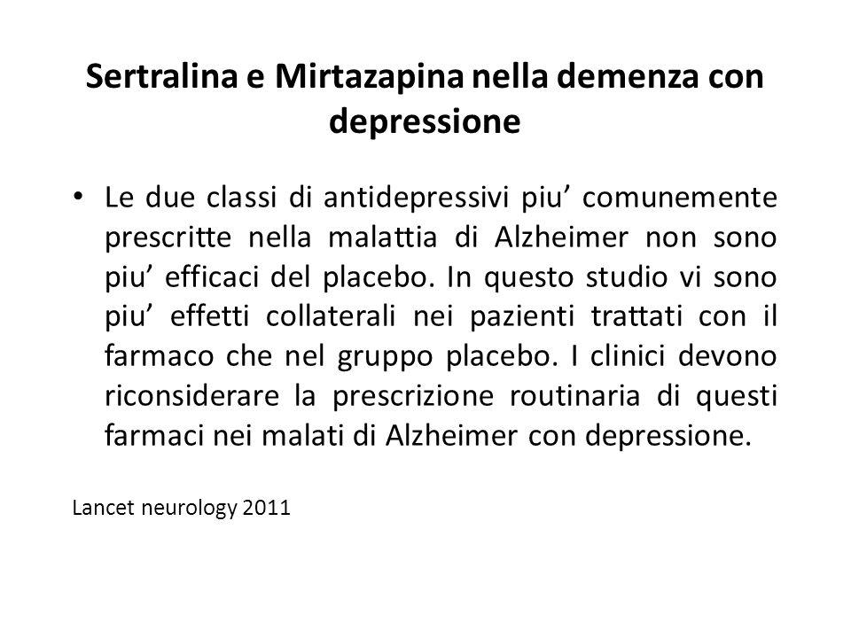 Sertralina e Mirtazapina nella demenza con depressione