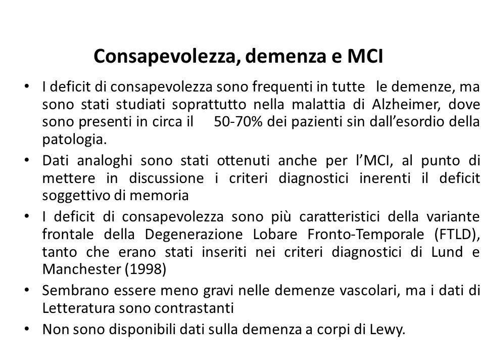 Consapevolezza, demenza e MCI