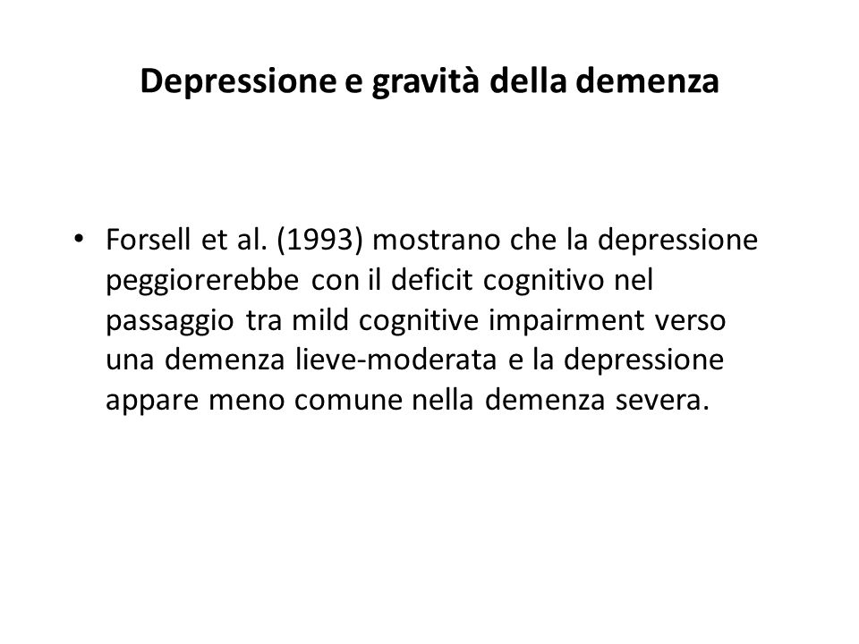 Depressione e gravità della demenza