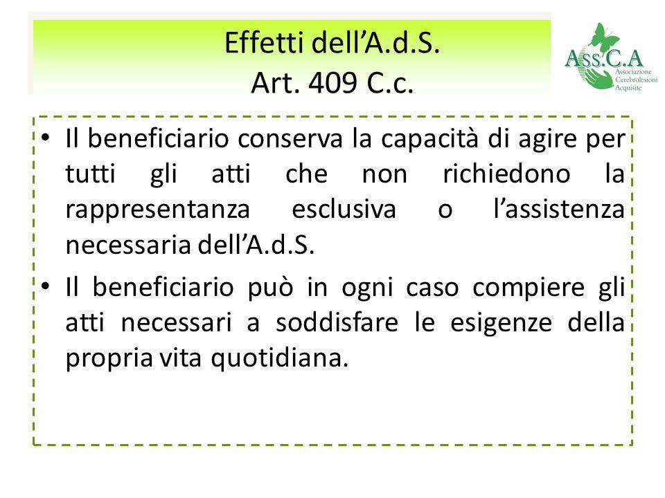 Effetti dell'A.d.S. Art. 409 C.c.