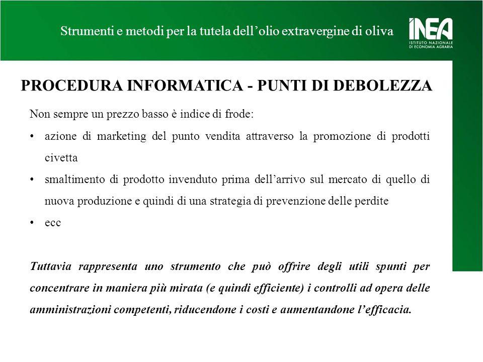PROCEDURA INFORMATICA - PUNTI DI DEBOLEZZA