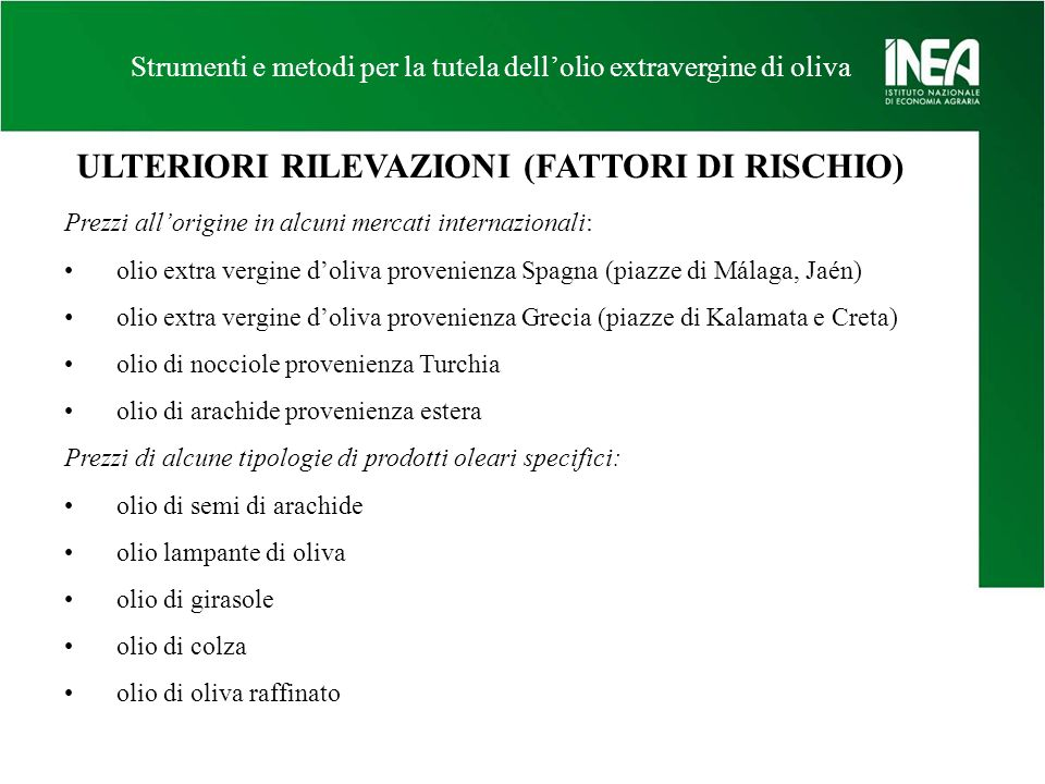 ULTERIORI RILEVAZIONI (FATTORI DI RISCHIO)