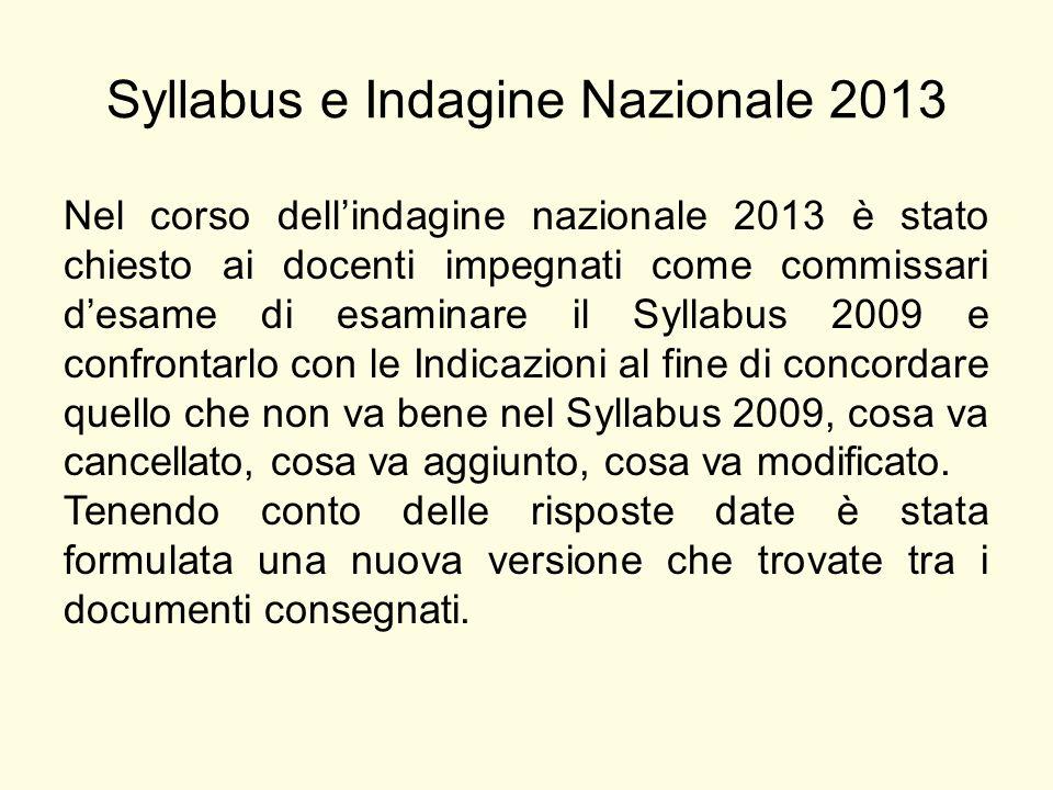 Syllabus e Indagine Nazionale 2013