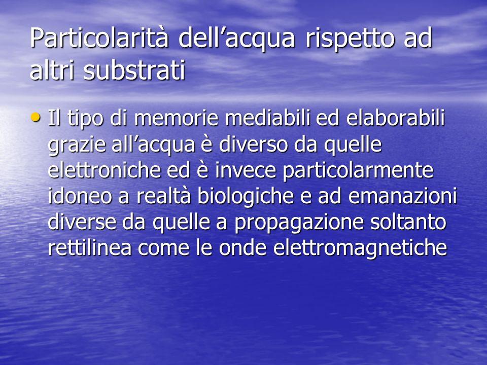 Particolarità dell'acqua rispetto ad altri substrati