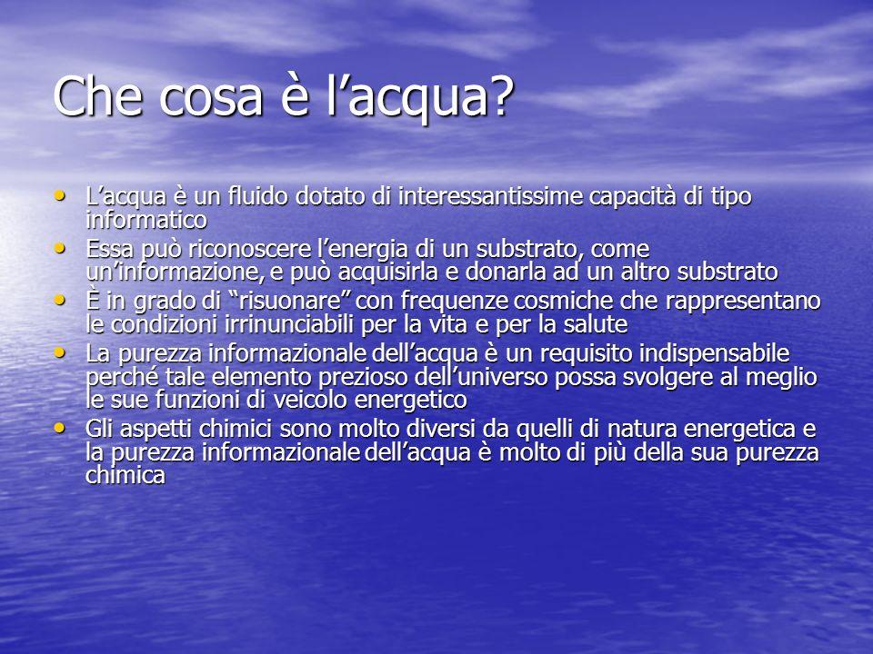 Che cosa è l'acqua L'acqua è un fluido dotato di interessantissime capacità di tipo informatico.