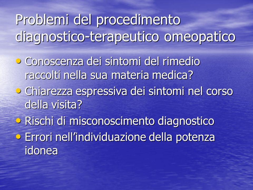Problemi del procedimento diagnostico-terapeutico omeopatico