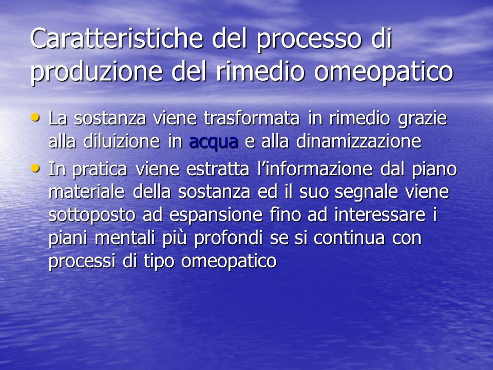 Caratteristiche del processo di produzione del rimedio omeopatico