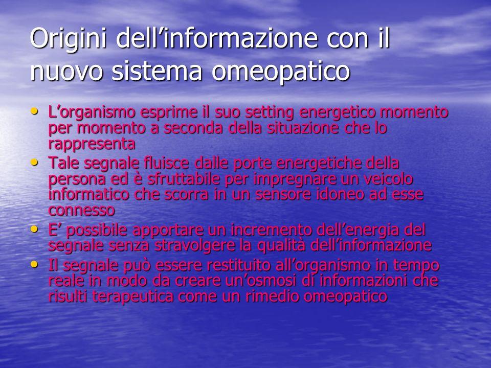 Origini dell'informazione con il nuovo sistema omeopatico