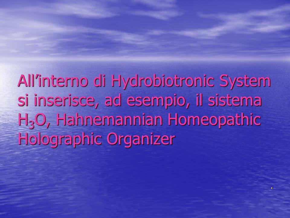 All'interno di Hydrobiotronic System si inserisce, ad esempio, il sistema H3O, Hahnemannian Homeopathic Holographic Organizer