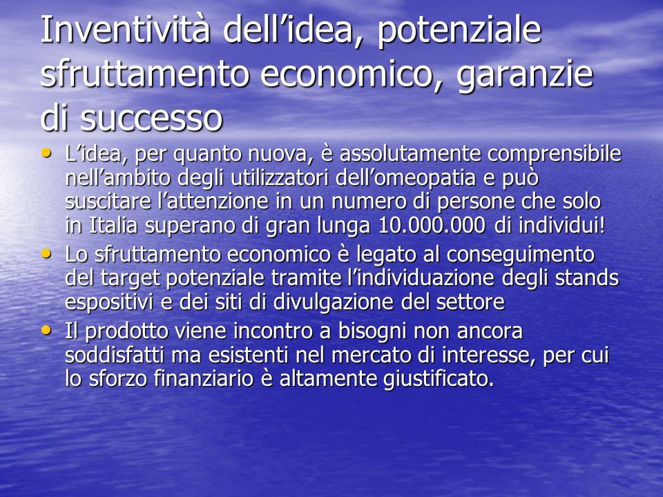 Inventività dell'idea, potenziale sfruttamento economico, garanzie di successo