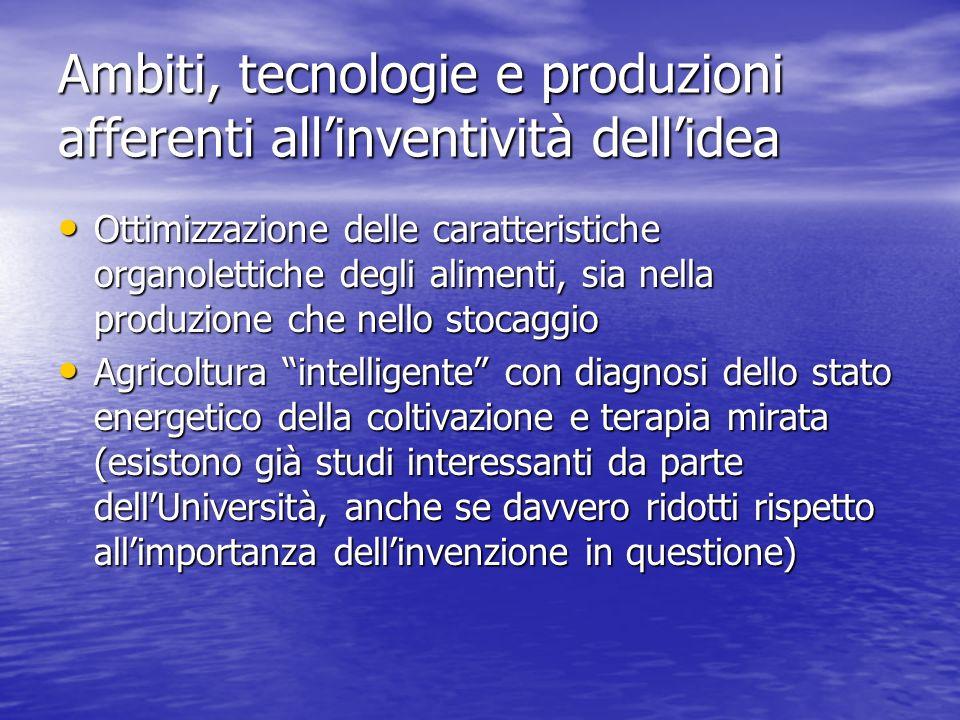 Ambiti, tecnologie e produzioni afferenti all'inventività dell'idea
