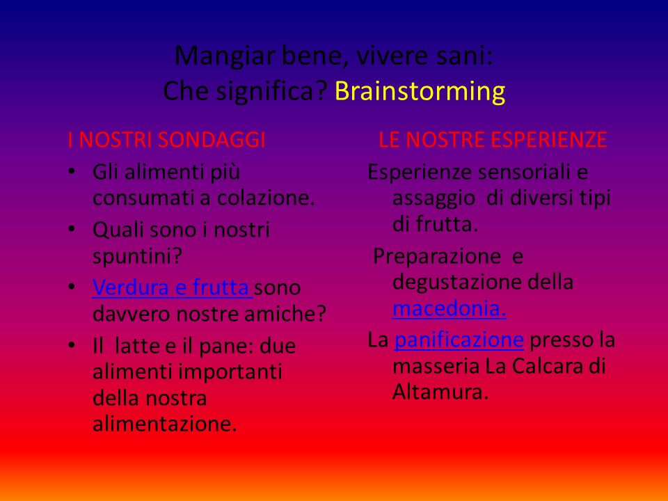 Mangiar bene, vivere sani: Che significa Brainstorming