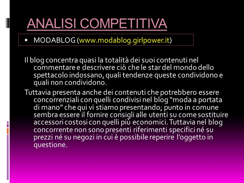 ANALISI COMPETITIVA MODABLOG (www.modablog.girlpower.it)