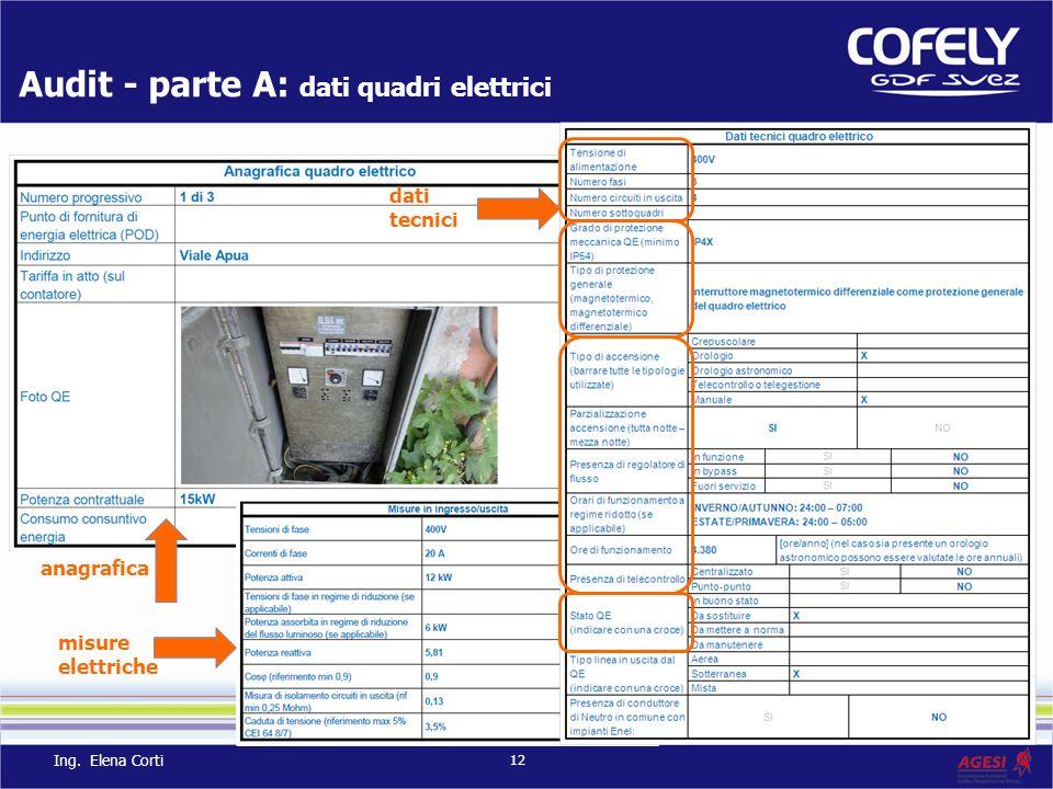 Audit - parte A: dati quadri elettrici