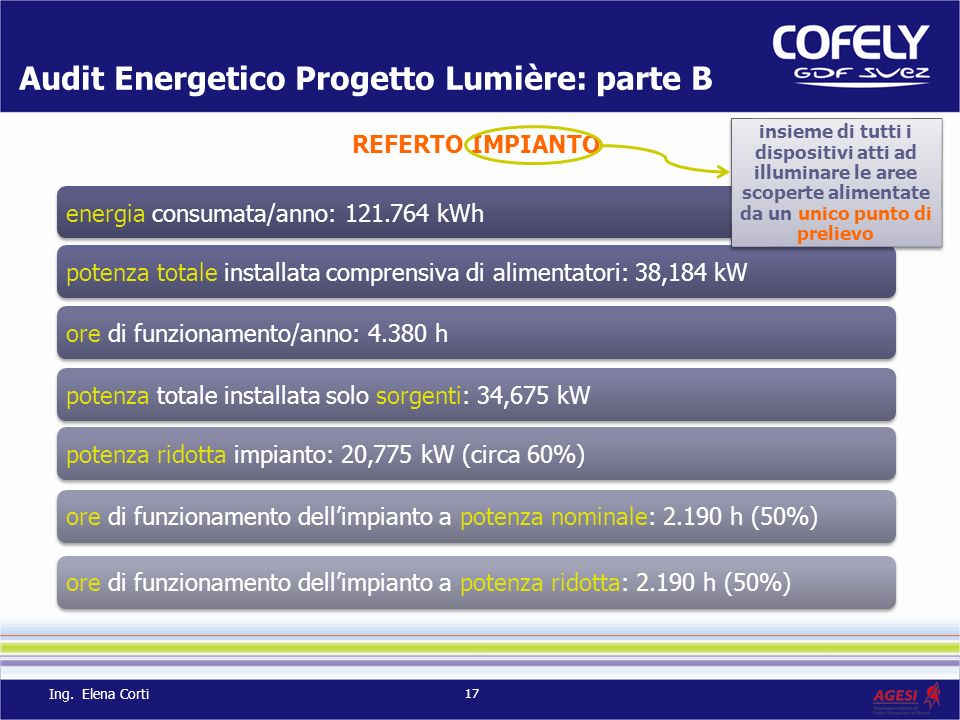 Audit Energetico Progetto Lumière: parte B