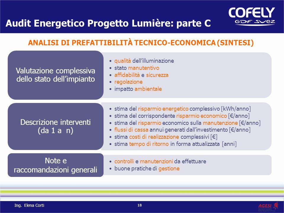 Audit Energetico Progetto Lumière: parte C