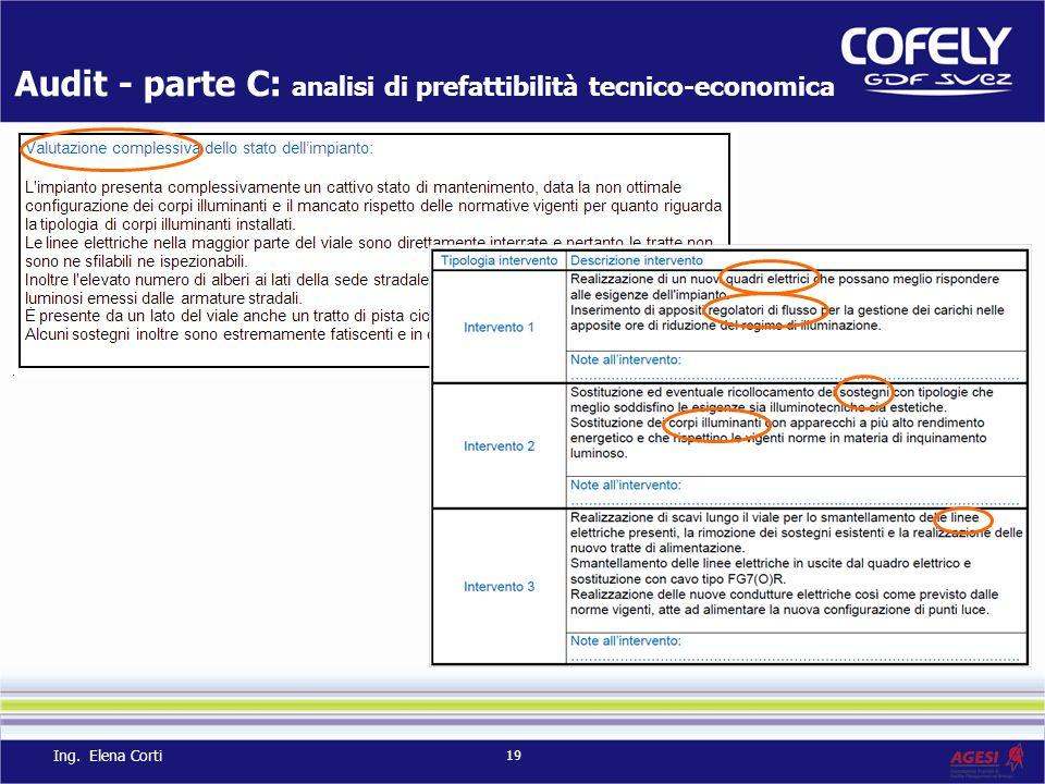 Audit - parte C: analisi di prefattibilità tecnico-economica