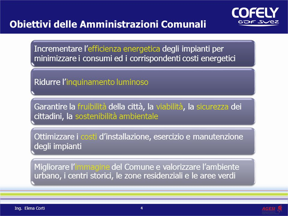 Obiettivi delle Amministrazioni Comunali