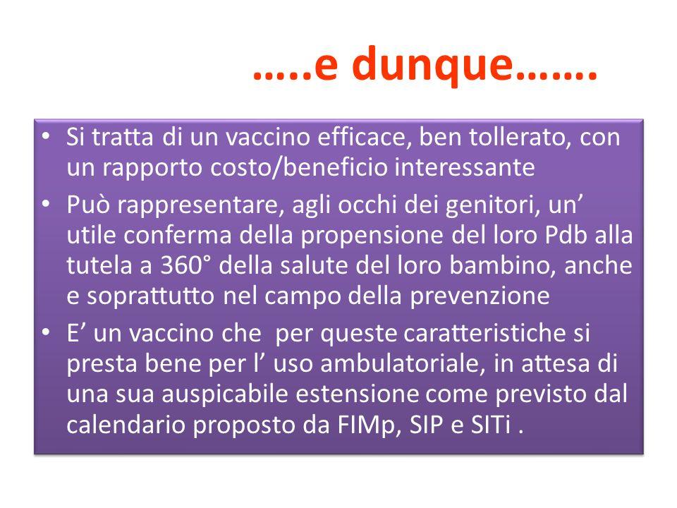 …..e dunque……. Si tratta di un vaccino efficace, ben tollerato, con un rapporto costo/beneficio interessante.