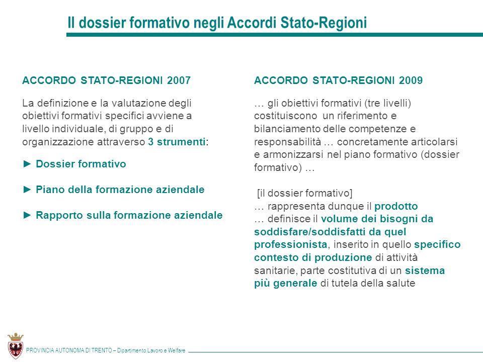 Il dossier formativo negli Accordi Stato-Regioni
