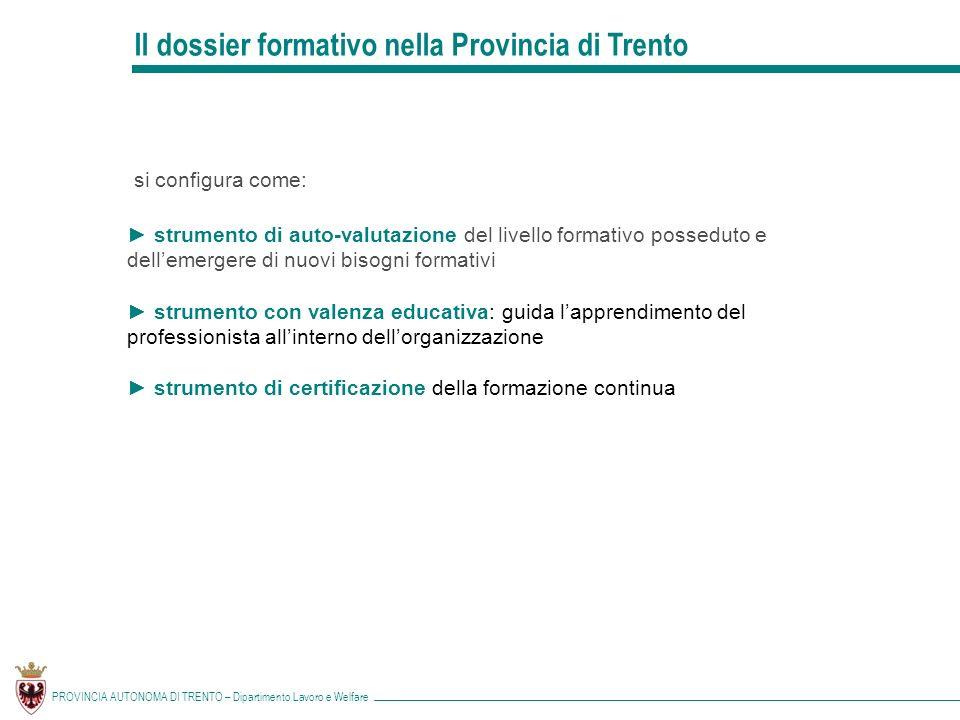 Il dossier formativo nella Provincia di Trento