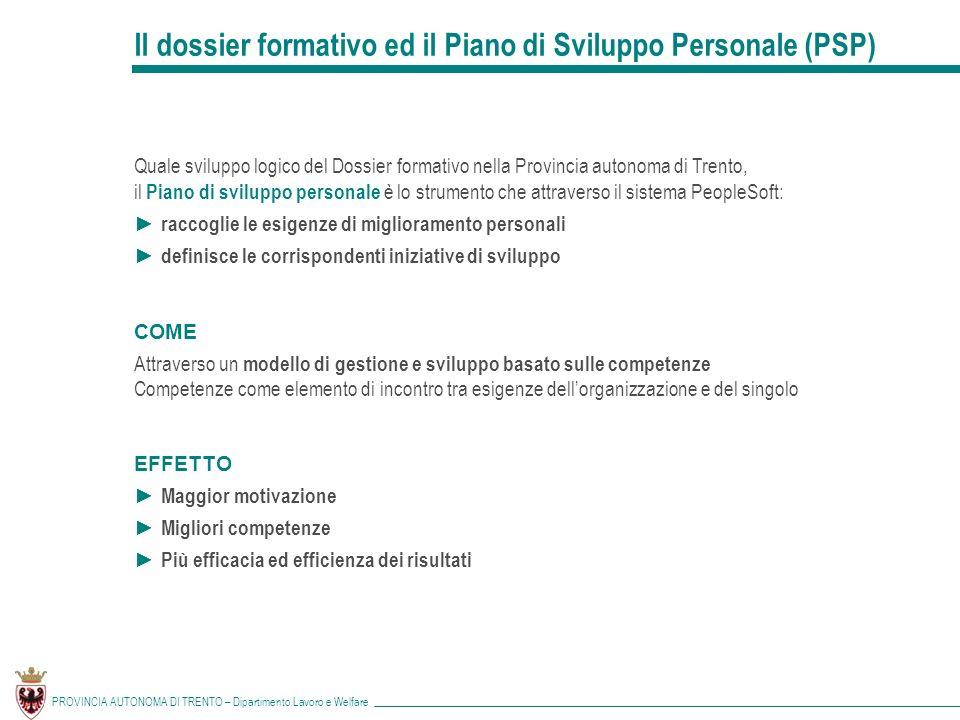 Il dossier formativo ed il Piano di Sviluppo Personale (PSP)