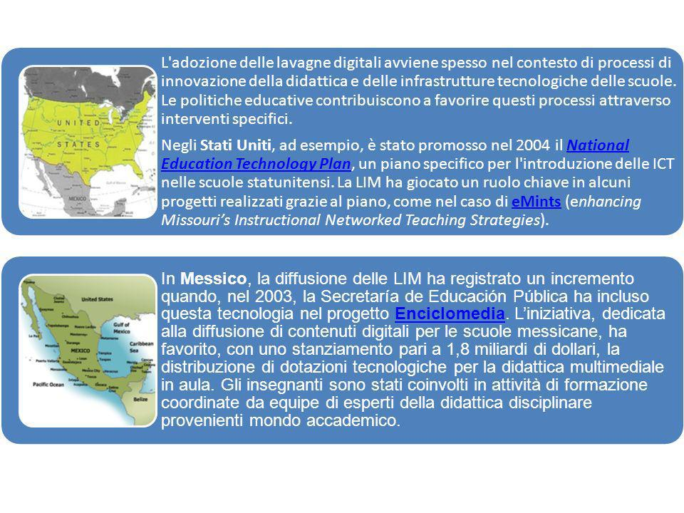 Negli Stati Uniti, ad esempio, è stato promosso nel 2004 il National Education Technology Plan, un piano specifico per l introduzione delle ICT nelle scuole statunitensi. La LIM ha giocato un ruolo chiave in alcuni progetti realizzati grazie al piano, come nel caso di eMints (enhancing Missouri's Instructional Networked Teaching Strategies).
