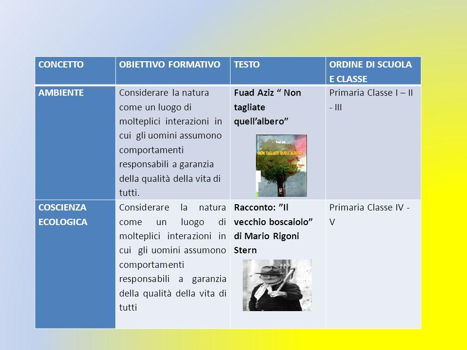 CONCETTO OBIETTIVO FORMATIVO. TESTO. ORDINE DI SCUOLA E CLASSE. AMBIENTE.