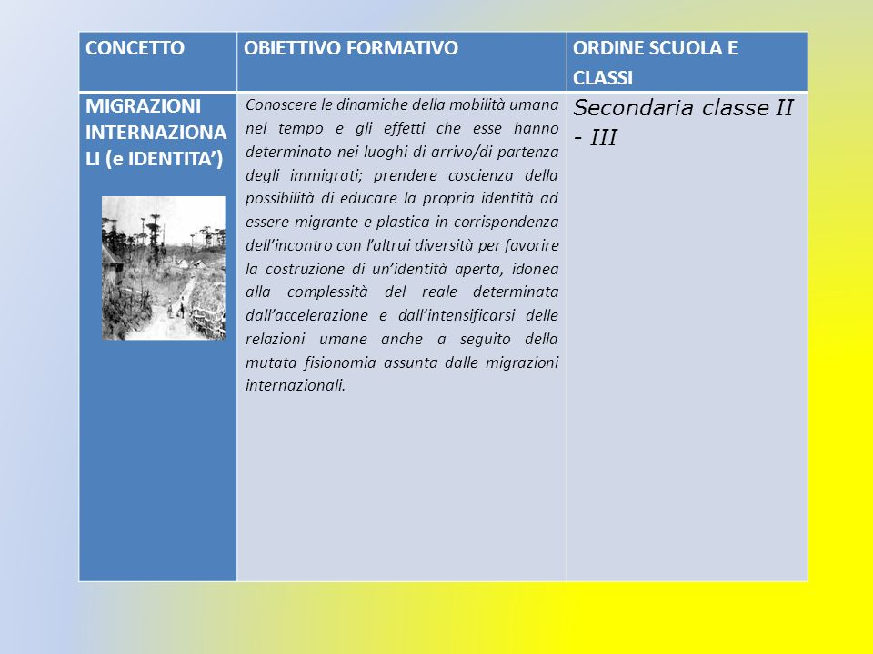 MIGRAZIONI INTERNAZIONALI (e IDENTITA') Secondaria classe II - III