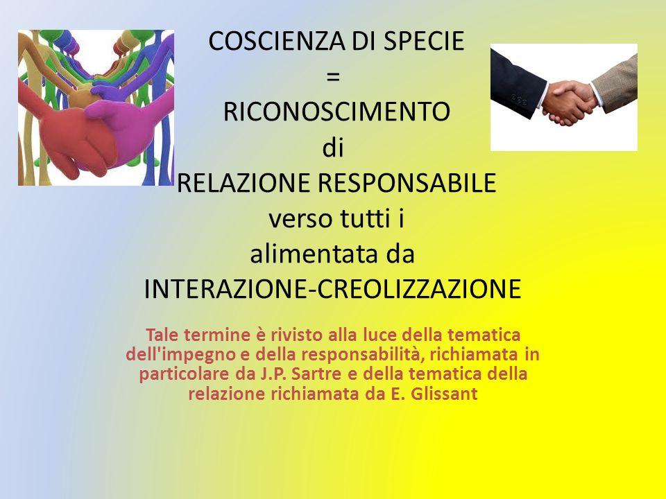 COSCIENZA DI SPECIE = RICONOSCIMENTO di RELAZIONE RESPONSABILE verso tutti i alimentata da INTERAZIONE-CREOLIZZAZIONE