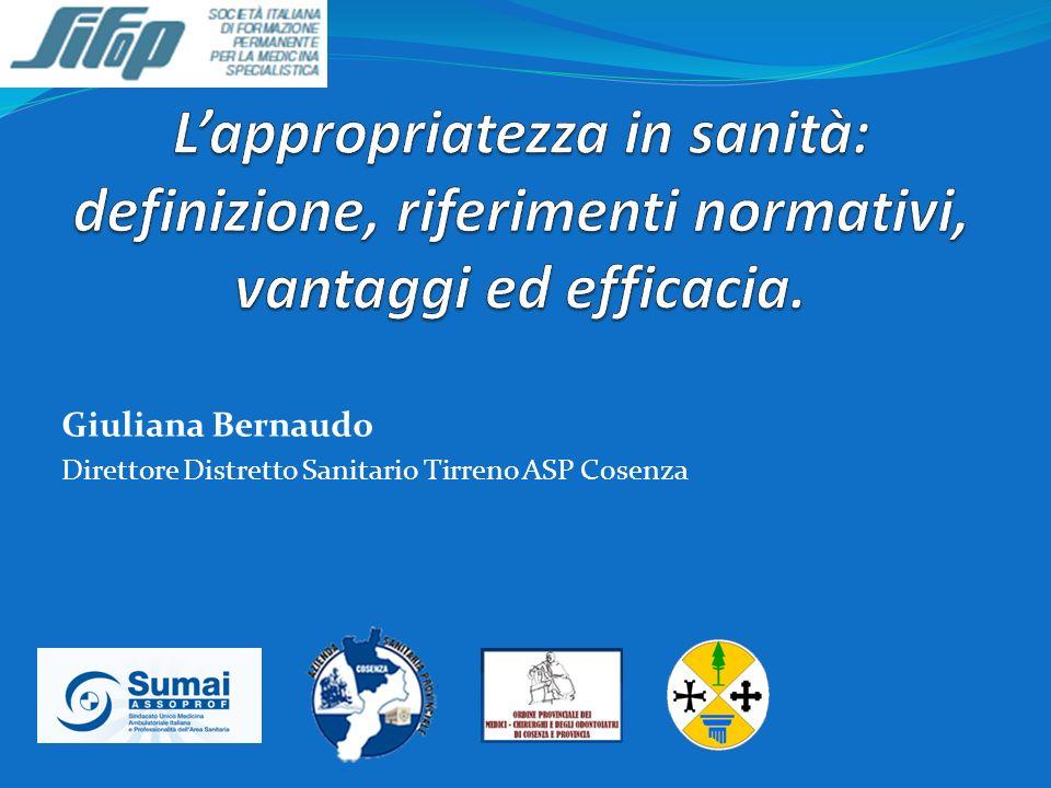 Giuliana Bernaudo Direttore Distretto Sanitario Tirreno ASP Cosenza