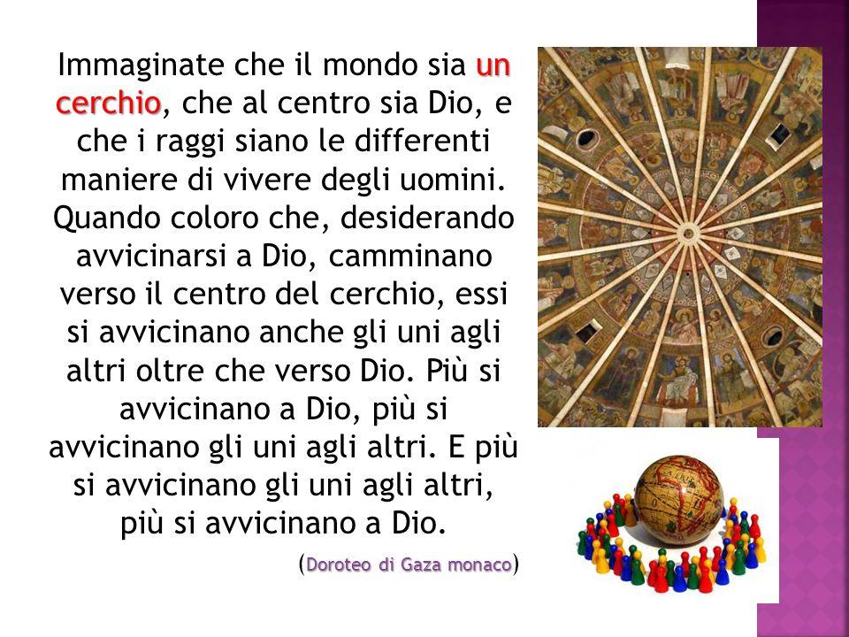 Immaginate che il mondo sia un cerchio, che al centro sia Dio, e che i raggi siano le differenti maniere di vivere degli uomini. Quando coloro che, desiderando avvicinarsi a Dio, camminano verso il centro del cerchio, essi si avvicinano anche gli uni agli altri oltre che verso Dio. Più si avvicinano a Dio, più si avvicinano gli uni agli altri. E più si avvicinano gli uni agli altri, più si avvicinano a Dio.