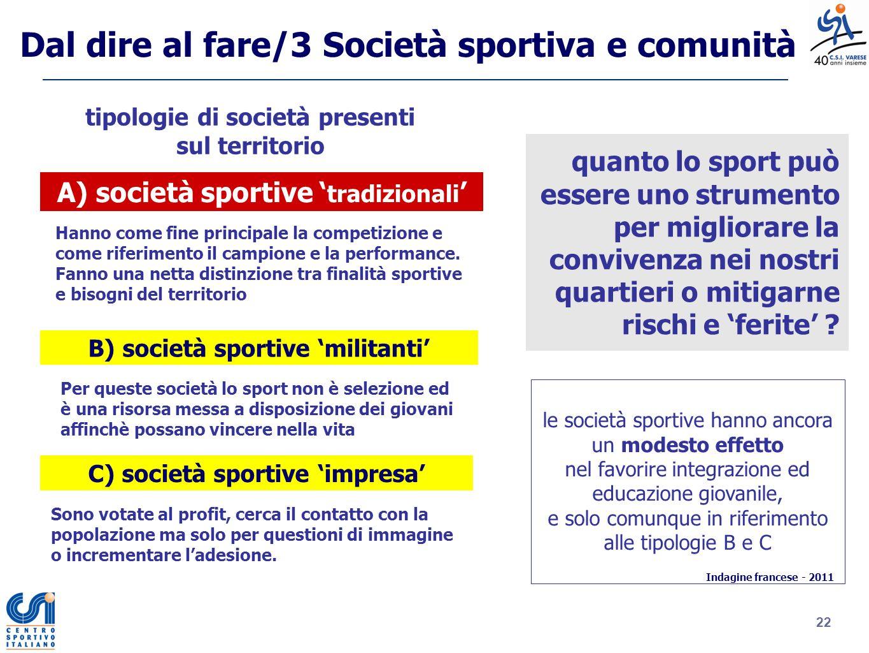 Dal dire al fare/3 Società sportiva e comunità