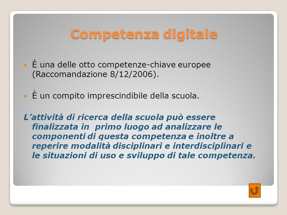 Competenza digitaleÈ una delle otto competenze-chiave europee (Raccomandazione 8/12/2006). È un compito imprescindibile della scuola.